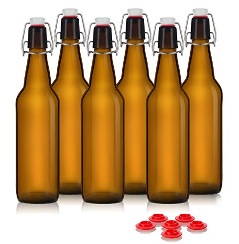 Swing Top Grolsch Glass Bottles 16oz - AMBER - For Brewing Kombucha Kefir Beer (6 Set) Bonus Gaskets