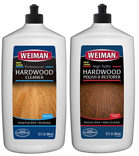 Weiman Hardwood Floor Cleaner and Polish Restorer Combo - 2 Pack - High-Traffic Hardwood Floor, Natural Shine, Removes Scratches, Leaves Protective Layer ()