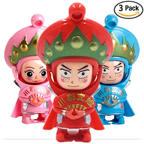 xunjia Changing Faces Dolls, 3 packs Figure Toy Sichuan Opera Traditional Creative Chinese Opera Face, Key Chain Toy