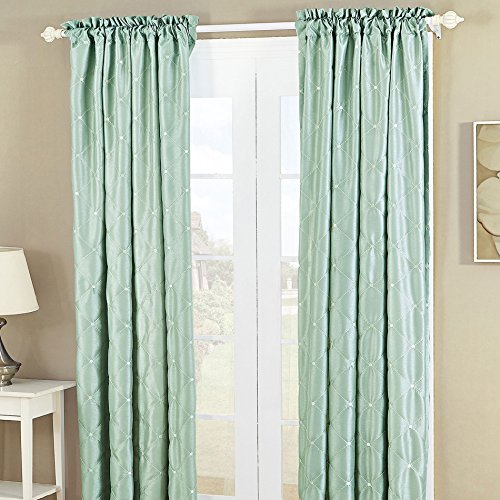 Home Soft Things Serenta Doris Diamond Embroidery Light Reducing Faux Silk Curtain, 2 Piece Window Panels, 60