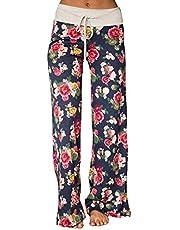 YAMTHR Womens Wide Leg Palazzo Pants Floral Printed High Waist Drawstring Trousers Lounge Pants