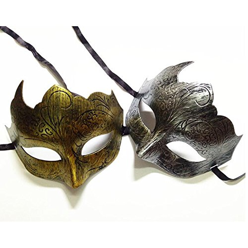 Dongcrystal 2 Pack Adults Vintage Antique Look Venetian Party Mask Masquerade Face Mask for Ball -
