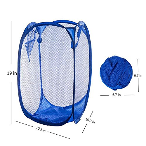 Yuccer Mesh Popup Laundry Hamper Bags, Foldable Dirty Clothes Hamper Basket for Home Travel Storage Organizer (Pink+Red+Purple) by Yuccer (Image #2)