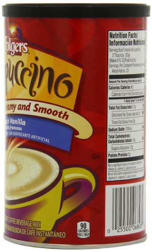 Folgers Cappuccino French Vanilla Beverage Mix, 16 Ounce, 6 Count