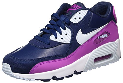 NIKE Youth Air Max 90 LTR Running Shoes-White/Blue Navy Blue-pink 100% original online cheap the cheapest on hot sale free shipping many kinds of 2015 new for sale XhFx0X