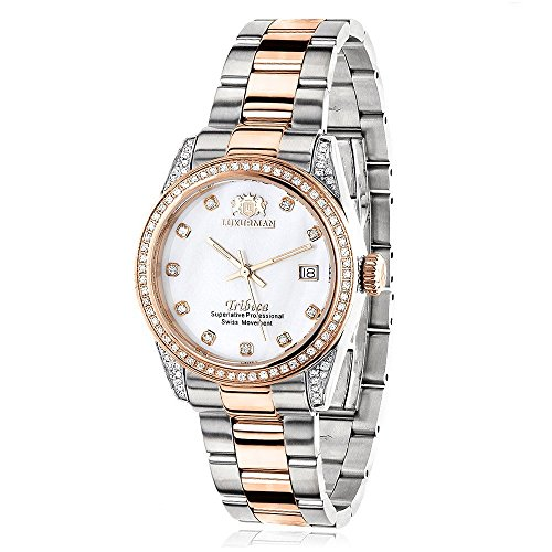 Two Tone Rose Gold Plated Women's Diamond Watch 1.5ctw of diamonds by Luxurman (Rose Gold Plated Diamond Watch)