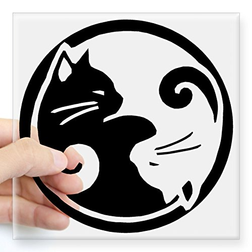 CafePress yin yang cats Square Sticker Bumper