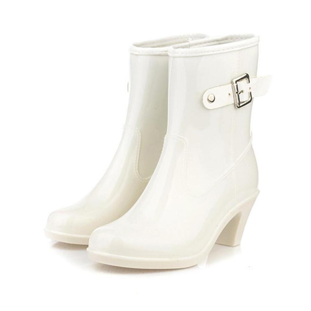 SIHUINIANHUA High Heel Regen Stiefel Damen Abschnitt Schnalle in der Röhre Regen Stiefel Gummischuhe Wasser Schuhe Weiß 35