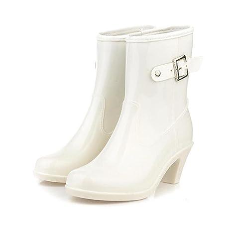 High Heel Regen Stiefel / Damen Abschnitt Schnalle in der Röhre Regen Stiefel / Gummischuhe Wasser Schuhe , beige , 37