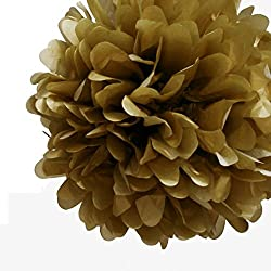 "Quasimoon PaperLanternStore.com EZ-Fluff 12"" Copper Tissue Paper Pom Poms Flowers Balls, Hanging Decorations (4 Pack)"