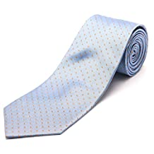 Luciano Barbera Men's Slim Silk Neck Tie Light Blue Orange
