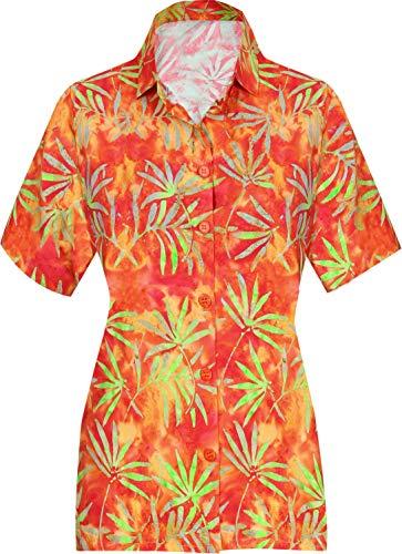HAPPY BAY V Neck Womens Shirt Classic Palm Tree Collar Button UP Hawaiian Shirt