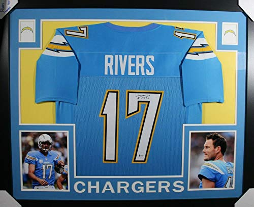 (Autographed Philip Rivers Jersey - FRAMED LIGHT BLUE w BECKETT COA - Beckett Authentication - Autographed NFL Jerseys)