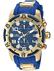 Invicta Mens Bolt Quartz Gold and Polyurethane Casual Watch, Color:Two Tone (Model: 24217)