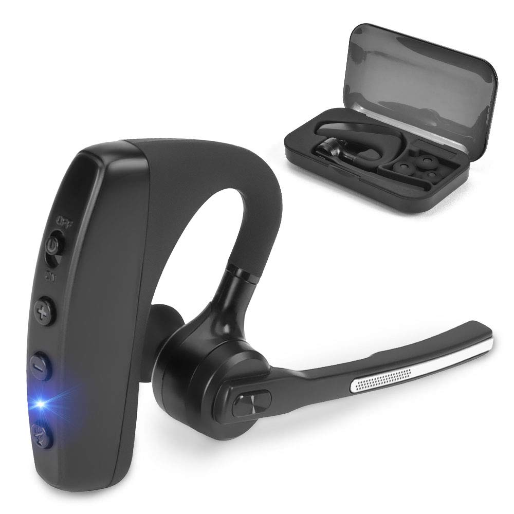 Bluetooth Headset V4.2 Hands-Free Wireless Earpieces CVC 6.0 Noise Reduction 8 Hours Play Time with Dual Microphones for Business/Driving/Office Compatible with iPhone Android Smartphone by SHINETAO