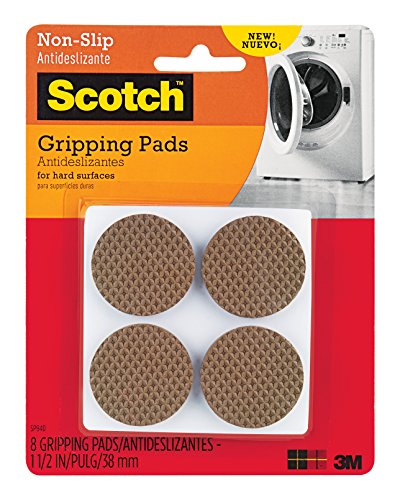 Scotch Gripping Pads, 8 Pads/Pack, Round, Brown, 1.5