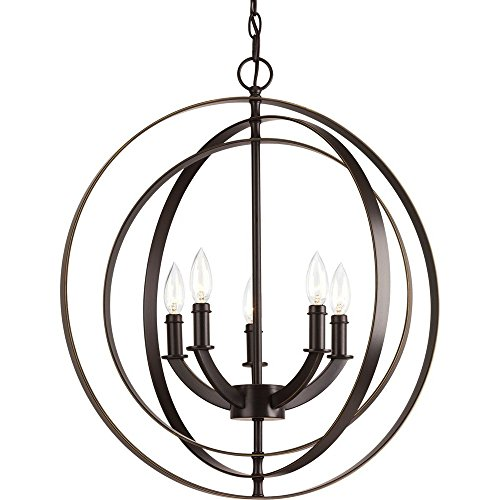 (Progress Lighting P3841-20 Traditional/Classic 5-60W Cand Foyer Pendant, Antique Bronze)