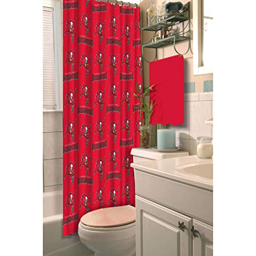 1 Piece NFL Buccaneers Shower Curtain 72 X 72 Inches, Football Themed Bedding Sports Patterned, Team Logo Fan Merchandise Bathroom Curtain Athletic Team Spirit Fan, Black, Red, White Polyester