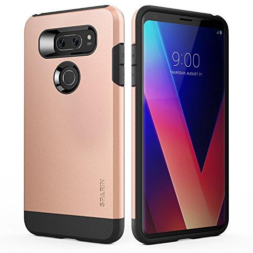 SPARIN LG V30/LG V30 Plus Case/LG V30S Case, Dual Layer Black Tough Phone Case for LG V30 with Shock Absorbing/Scratch Proof/Precise Designed, 6 Inch, Rose Gold