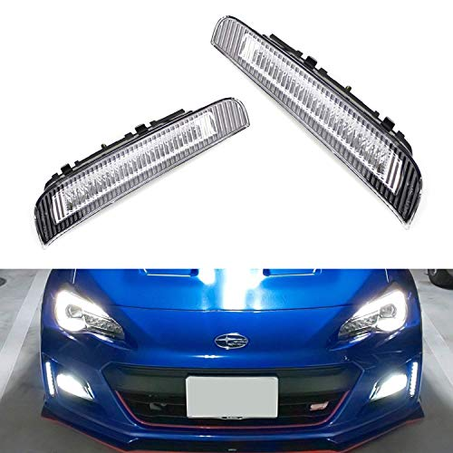 iJDMTOY JDM Style Exact Fit Xenon White LED Daytime Running Light Kit For 2017-up LCI Subaru BRZ, Clear Lens