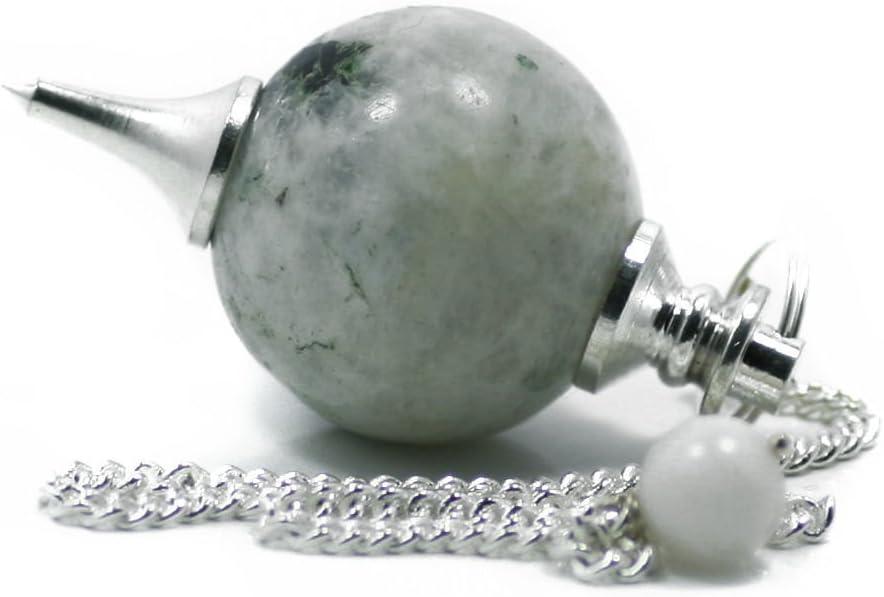 Green Cross Toad Péndulo esférico para radiestesia y sanación en Cristales de Piedra Semipreciosa Genuina (Piedra de Luna Arcoiris)
