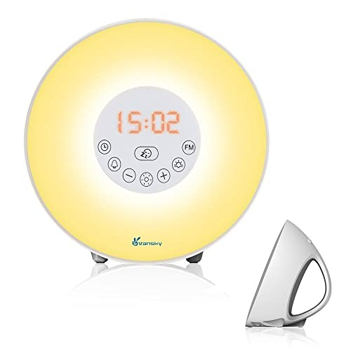 Alarm Clock Wake Up Light, Vansky® Upgraded Radio Alarm Clock Sunrise Simulation Wake Up Light, Night Light Bedside Lamp with Nature Sounds FM Radio, 7 Colours/10 Brightness, Touch Control