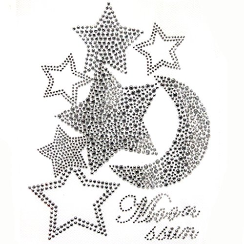 Korea Rhinestone Transfer Hot Fix Motif Fashion Design Silver Moon Stars Deco 1 Sheets - Hot Fix Rhinestone Motif Iron