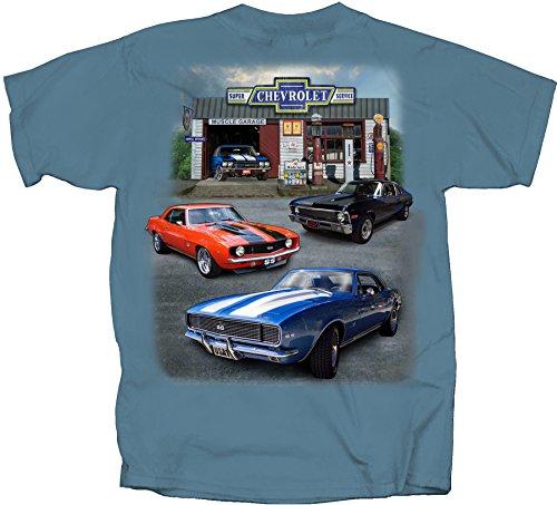 Joe Blow Men's Chevy Super Service Muscle Garage Adult T-Shirt, Large, Indigo (Camaro Car Chevy Muscle)