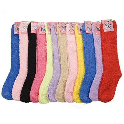 12-Pairs-of-Excellent-Long-Assorted-Solid-Colors-Thick-Fuzzy-Slipper-SocksSize-9-11