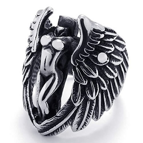 [Aomily Jewelry, Womens Finger Rings Stainless Steel Black Silver Angel Wing Size 12] (Bat Wings Costume Template)