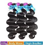 Rechoo Mixed Length Brazilian Virgin Remy Human Hair Extension Weave 3 Bundles 300g - Natural Black,16
