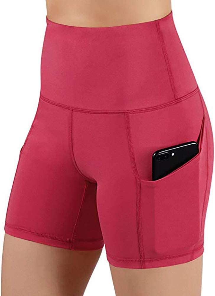 Blackzone Sports Women High Waist Yo ga Shorts Gym Running Skinny Short Pants with Pocket Exercise