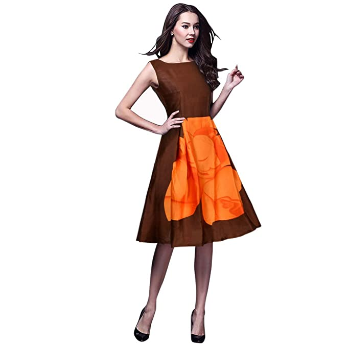 82cec3ef56 Kaveri Export Women s Party Wear Western Top (Orange And Brown Color  Premium Satin Fabric Sleeveless
