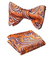 SetSense Men's Floral Jacquard Wedding Party Self Bow Tie Pocket Square Set