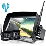 Upgrade Digital Wireless Backup Camera System Kit,No Interference,IP68 Waterproof Wireless Rear View Camera + 7'' LCD Wireless Reversing Monitor For Truck/Semi-Trailer/Box Truck/RV