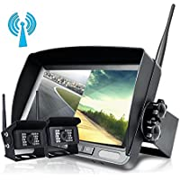 """Update Digital Wireless Backup Camera, Hikity 7"""" LCD Wireless Reversing Split Monitor + IP68 Waterproof No Interference Super Night Vision 2 X Rear View Cameras for Bus/Truck/Trailer/RV/Boat"""