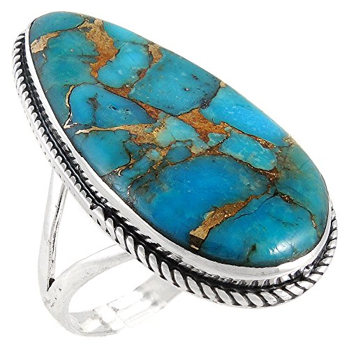 - Sterling Silver 925 Genuine Turquoise Ring (10)