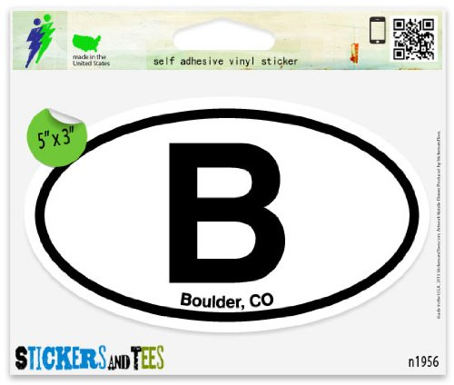 B Boulder CO Colorado Oval Car Sticker Indoor Outdoor 5