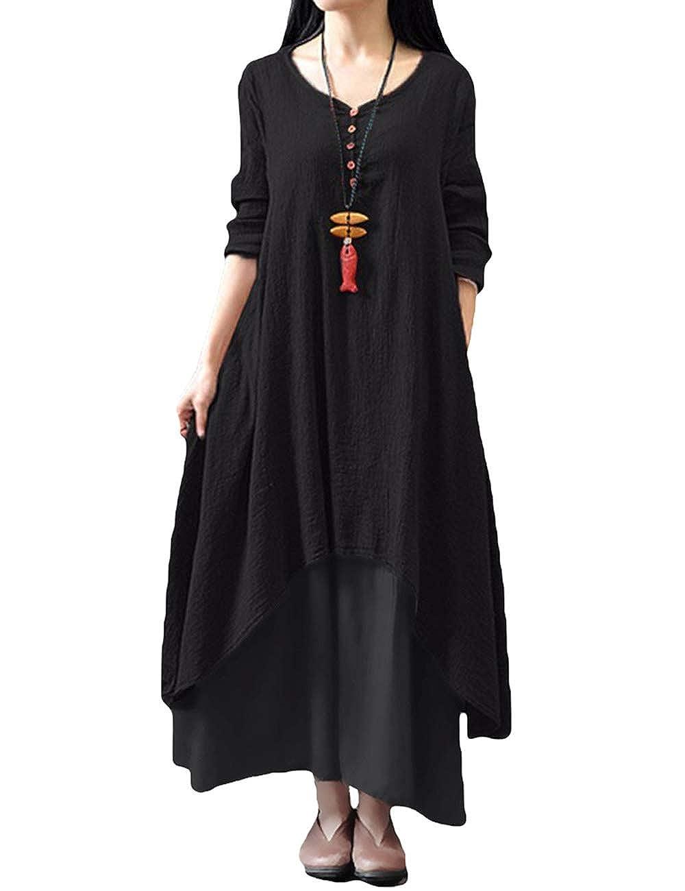 TALLA 5XL. Romacci Vestido Suelto Vestido Ocasional de Las Mujeres Manga Larga Sólida Maxi Vestido Largo de Boho Negro 5XL