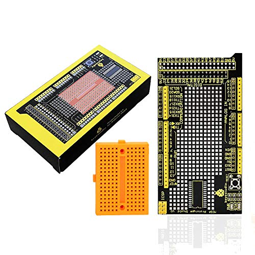 KEYESTUDIO MEGA Protoshield V3 for Arduino Mega 2560 with Mini Breadboard, Easy to Use, Great for Solder Projects or Prototyping