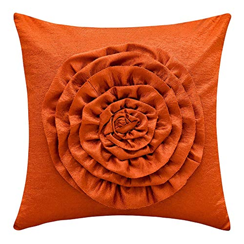 The White Petals Orange Couch Pillow Cover (3D Flower, 12x12 inch, Pack of 1) ()