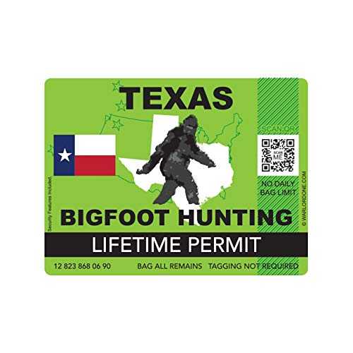fagraphix Texas Bigfoot Hunting Permit Sticker Die Cut Decal Sasquatch Lifetime FA Vinyl - 4.00 Wide
