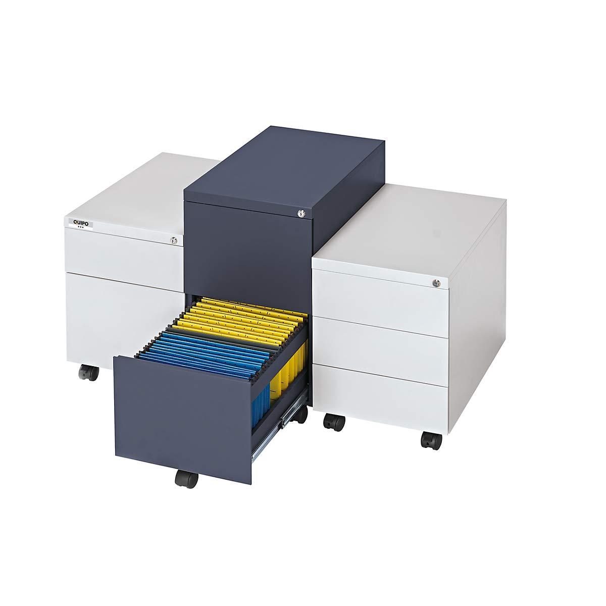 Beistellschrank Rollcontainer f/ür B/üro Stahl QUIPO Rollcontainer lichtgrau 2 H/ängeregistraturen Tiefe 790 mm