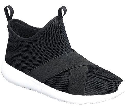 Evigt Länkar Kvinna Slip-on Stretch Mesh Andas Bandad Mode Sneaker Svart