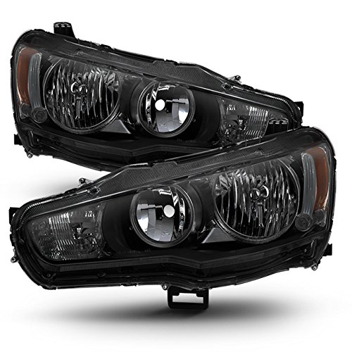 (For Black Smoke 08-17 Lancer 08-15 Evolution Headlights Front Lamps Direct Replacement Left + Right )
