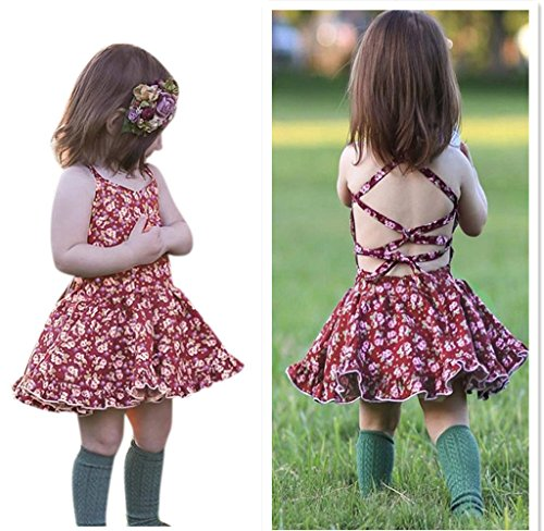 Franterd Baby Girls Straps Backless Dress Newborn Kids Overall Outfits Clothes Dress (2T, Multicolor)