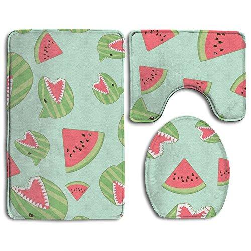 HOMESTORES Shark Watermelon Funny Skidproof Toilet Seat U Shape Cover Bath Mat Lid Cover 3 Piece Non Slip Bath Rug Mats Sets For Shower -
