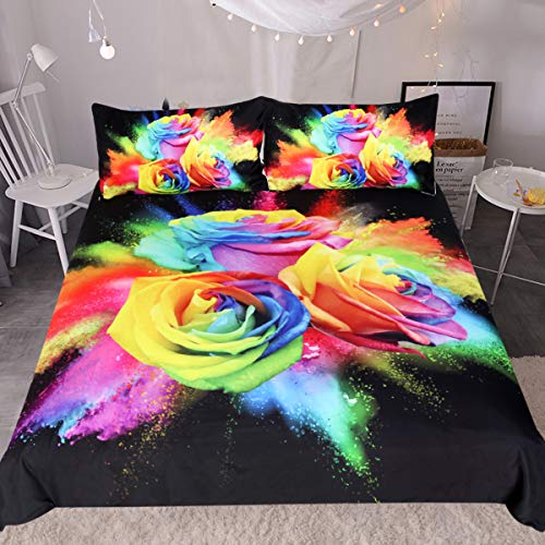 Sleepwish 3D Colorful Red Rose Bedding Set 3 Piece Flowers Pattern Duvet Cover Hippie Bedspread Black Chic Bedding (Queen)