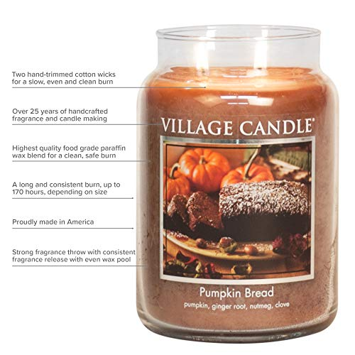 Village Candle Mulled Cider Large Glass Apothecary Jar Scented Candle, 21.25 oz, Red