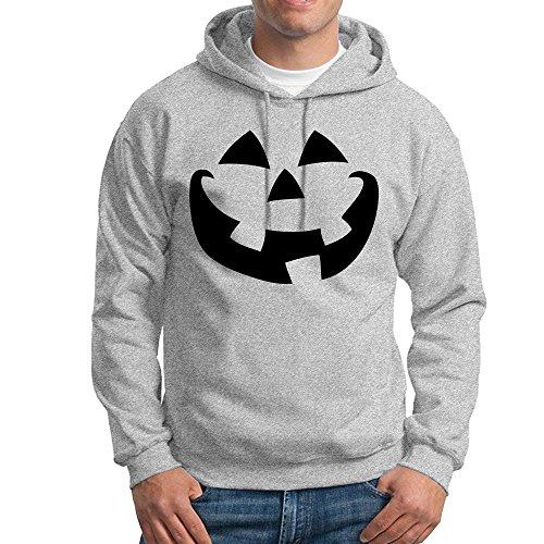 Jozie Men's Hoodies Halloween Jack-o-lantern Pumpkin Face Size M Ash